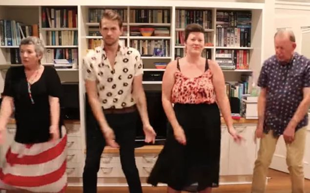 A Wellington family has become an overnight online sensation with their 'Lockdown Boogie'. Photo / Jack Buchanan, YouTube