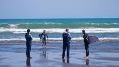 Surfers are spoken to and issued tickets by the police at Piha beach this morning after they breached the lockdown rules. Photo / Alex Burton