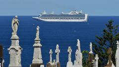 The cruise ship the ruby Princess sits of coast of Sydney, Sunday, April 5, 2020. (Photo / AAP)