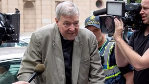 Cardinal George Pell leaves the County Court in Melbourne, Australia. Photo / AP