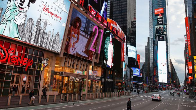 Empty streets in New York. (Photo / AP)