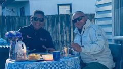 Former MP Hone Harawira (left) has breakfast in Auckland over the weekend after taking an essential trip down from Northland. (Photo / Hone Harawira)