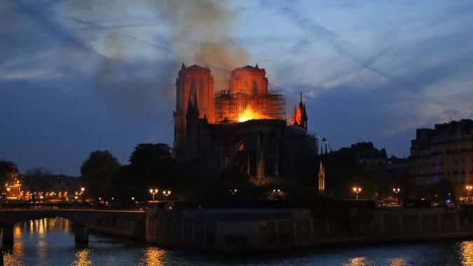 The cataclysmic fire gutted the landmark's interior. Photo / AP