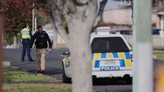 The scene at Central Ave, Papatoetoe where police shot a man dead early this morning. Photo / Dean Purcell