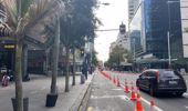 Social distancing cones have popped up in Auckland's CBD. (Photo / Supplied)