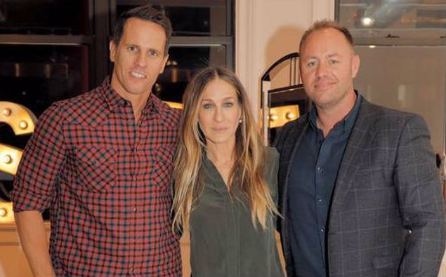 Invivo founders Tim Lightbourne, left, and Rob Cameron with Sarah Jessica Parker. (Photo / Supplied)