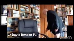 Dunedin councillor David Benson-Pope has clarified that he was wearing pants, they are just very short. Video / DCC / Youtube