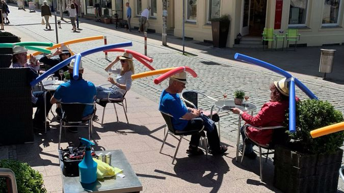 The Cafe Rothe recently reopened after Germany lifted coronavirus lockdown measures. (Photo / Jaqueline Rothe via CNN)