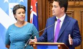 National leader Simon Bridges' (right) tough week just got a bit worse, after mispronouncing deputy leader Paula Bennett's name live on aire. (Photo / File)