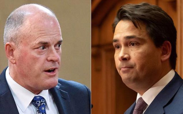 Todd Muller and Simon Bridges. (Photo / NZ Herald)