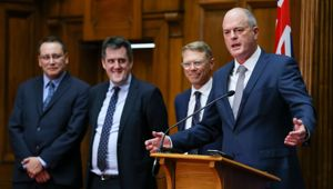 New National leader Todd Muller (right) with other National MPs. (Photo / Getty)
