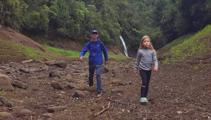 Photos: Auckland family walk along bottom of Upper Nihotupu Dam