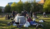 Groups of people sit in a park at Tantolunden in Stockholm, Sweden, which has refused to close down schools and restaurants to contain the Covid-19 coronavirus. (Photo / Loulou D'Aki, Bloomberg)