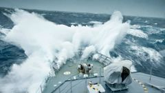HMNZS Otago encounters waves in the Southern Ocean. (Photo / Royal New Zealand Navy)