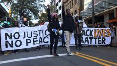 The Black Lives Matter march heading to Parliament. Photo / Jason Walls
