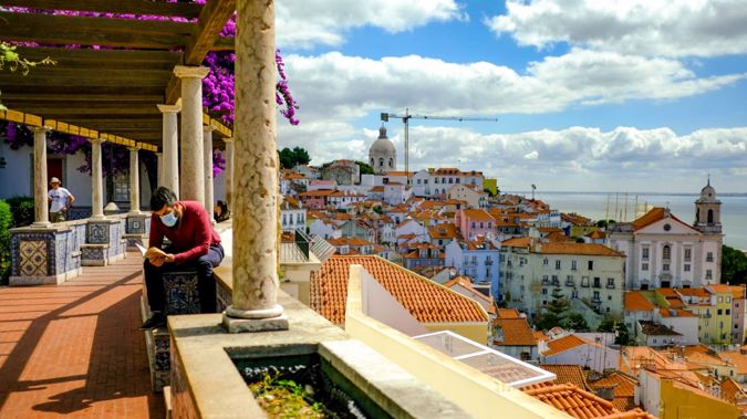 Normally teeming with visitors, Lisbon's old town is empty.