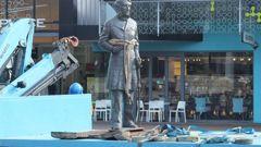 The statue of Captain John Hamilton in Hamilton was removed last week. (Photo / NZME)