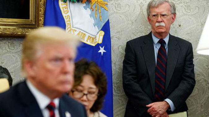 John Bolton with Donald Trump. (Photo / AP)