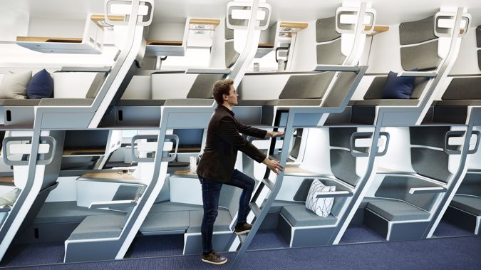 The Zephyr Seat offers a double decker airplane interior concept.