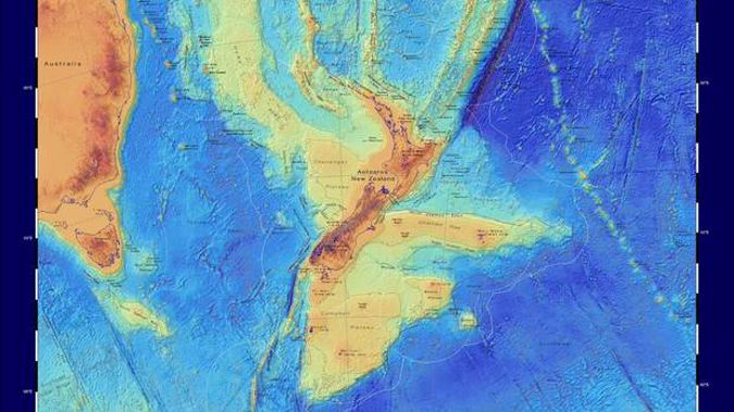 """Interactive maps described as a """"scientific benchmark"""" have revealed Zealandia - the vast continent beneath New Zealand - as it's never been seen before. Image / GNS Science"""