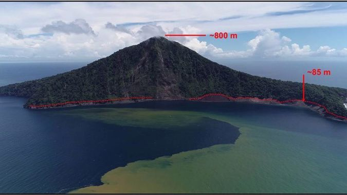 This image of Indonesia's Rakata Island shows the 85m-height of the tsunami when it hit in December 2018. Photo / Jose Borrero