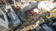 A bird's eye view of the work site in central Auckland for Aotea station as part of the City Rail Link. Photo / Greg Bowker