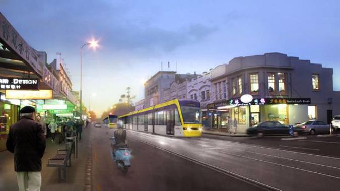 An artist's impression of a light rail tram on Dominion Road. Image / File