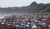 People are seen on the beach on the hottest day of the year, after an easing of social restrictions due to coronavirus, in Bournemouth, England, Wednesday, June 24, 2020. Photo / AP