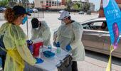 Medical staff from myCovidMD provide free COVID-19 virus antibody testing in Inglewood, California. (Photo / Getty)