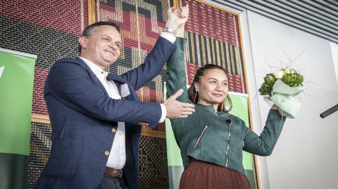 Marama Davidson and James Shaw. (Photo / NZ Herald)