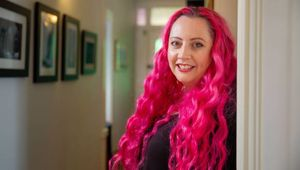 Siouxsie Wiles has been abused online about her pink hair and weight. Photo / Arvid Eriksson.