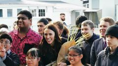 "Prime Minister Jacinda Ardern has launched Labour's campaign slogan: ""Let's keep moving"". Photo / Will Trafford"