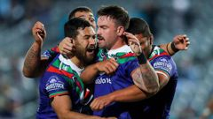 The Warriors celebrate Wayde Egan's try. (Photo / Getty)