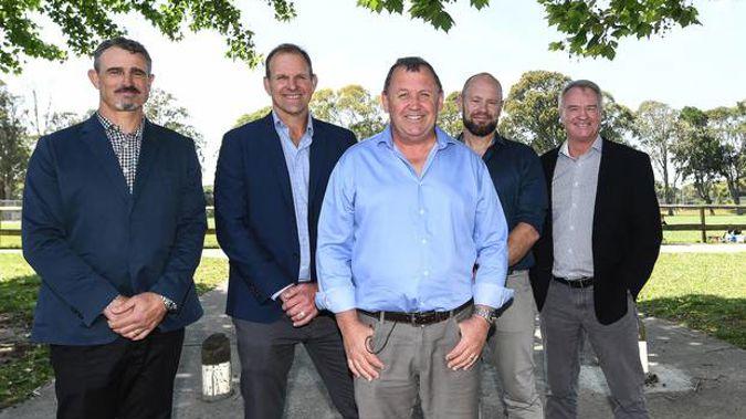 All Blacks new coaching group (right to left): Scott McLeod, John Plumtree, Ian Foster, Greg Feek, Grant Fox. Photo / Photosport
