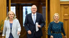 National Party leader Todd Muller, pictured with Amy Adams, left, and Nikki Kaye last month. Photo / Mark Tantrum
