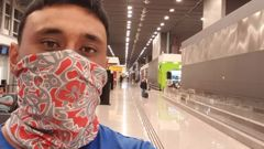 Kiwi man Kepa Harris, 29, faces a month eating pizza or subway in Sao Paulo's transit lounge after being denied entry to his connecting flight back to New Zealand. Photo / Supplied