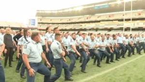 "Police performed the haka ""Ko Te Uru Pounamu"" for slain police officer Constable Matthew Hunt at Eden Park."