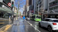 The concrete safety separators installed last night on Queen St. Photo / Auckland Council