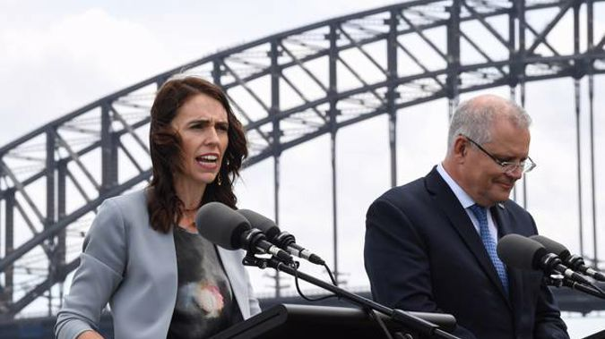 Jacinda Ardern and Scott Morrison speak to media at a press conference held at Admiralty House in February. Photo / Getty Images