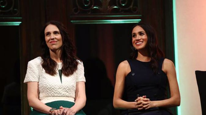 Jacinda Ardern and Meghan Markle during the couple's visit to Auckland. (Photo / Getty)