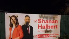 A billboard featuring Jacinda Ardern and Labour candidate Shanan Halbert was daubed with crude, sexist language.