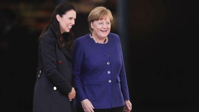 Jacinda Ardern with Angela Merkel in 2018. (Photo / AP)