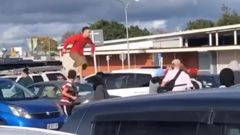 Youths were caught on video brawling in a carpark in Manurewa on Sunday morning.