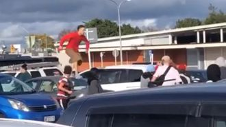 Watch: Violent youth brawl caught on camera at Auckland markets