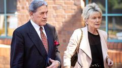 Deputy Prime Minister Winston Peters and his partner Jan Trotman at the Auckland High Court. (Photo / NZ Herald)