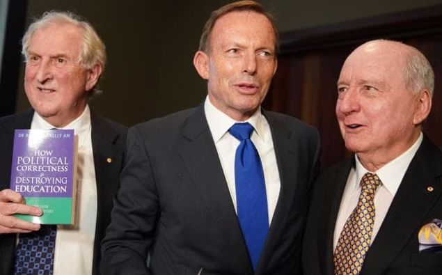 Dr Kevin Donnelly launching his new book with former prime minister Tony Abbott and radio broadcaster Alan Jones on Tuesday. Picture: Ben Rushton/AAPSource:AAP