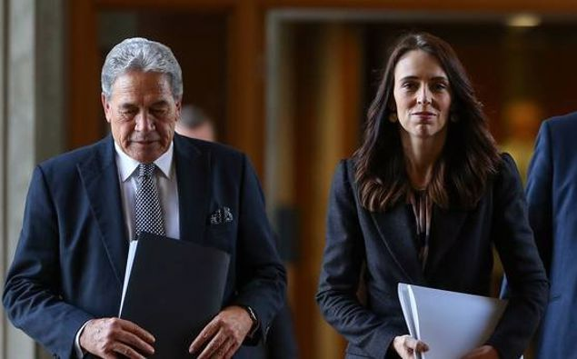 PM Jacinda Ardern with NZ First leader Winston Peters on Budget Day. Photo / Hagen Hopkins