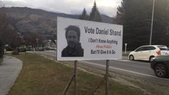 """Daniel Shand is asking for people's votes, saying he'd """"probably make a pretty good MP"""". Photo / Twitter, Jamie Wood"""