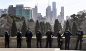 Police patrol The Shrine of Remembrance enforcing the wearing of face masks in Melbourne on July 31, 2020.