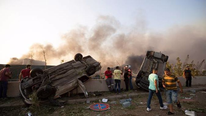Aftermath of a massive explosion is seen in in Beirut, Lebanon. Photo / AP